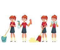 Little Girl Washing Dishes Stock Illustrations.