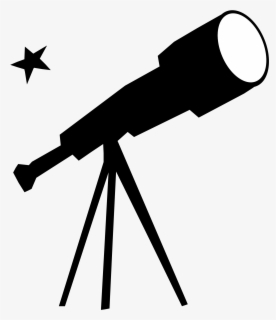 Free Telescope Black And White Clip Art with No Background.