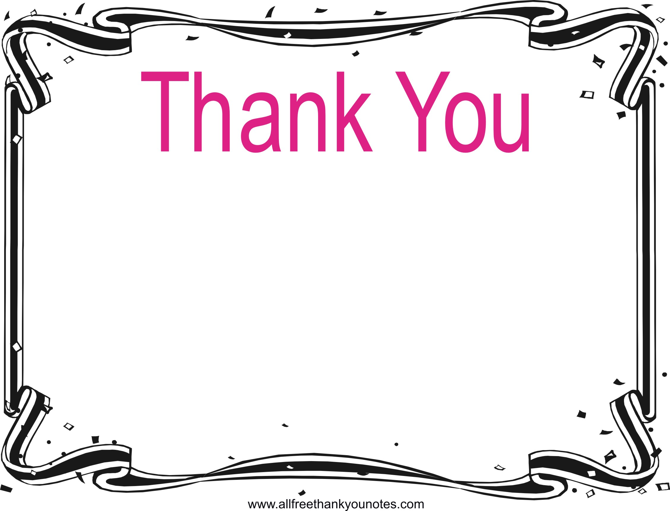 Thank you black and white thank you border clip art.