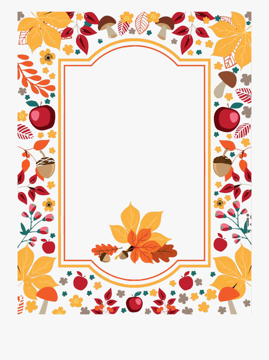 Free Thanksgiving Flowers Border Png Vector, Clipart.