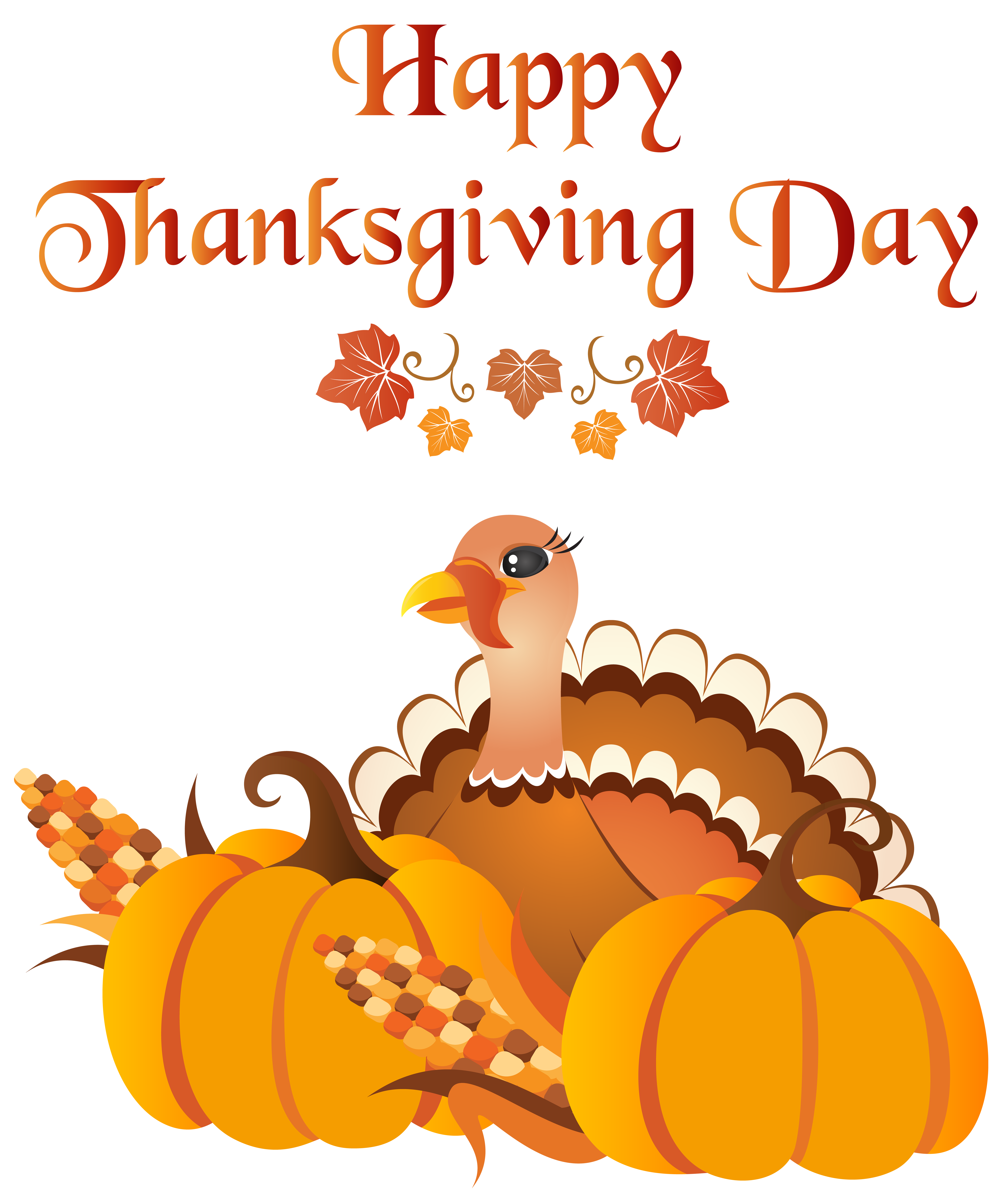 Happy Thanksgiving Day with Turkey PNG Clip Art Image.