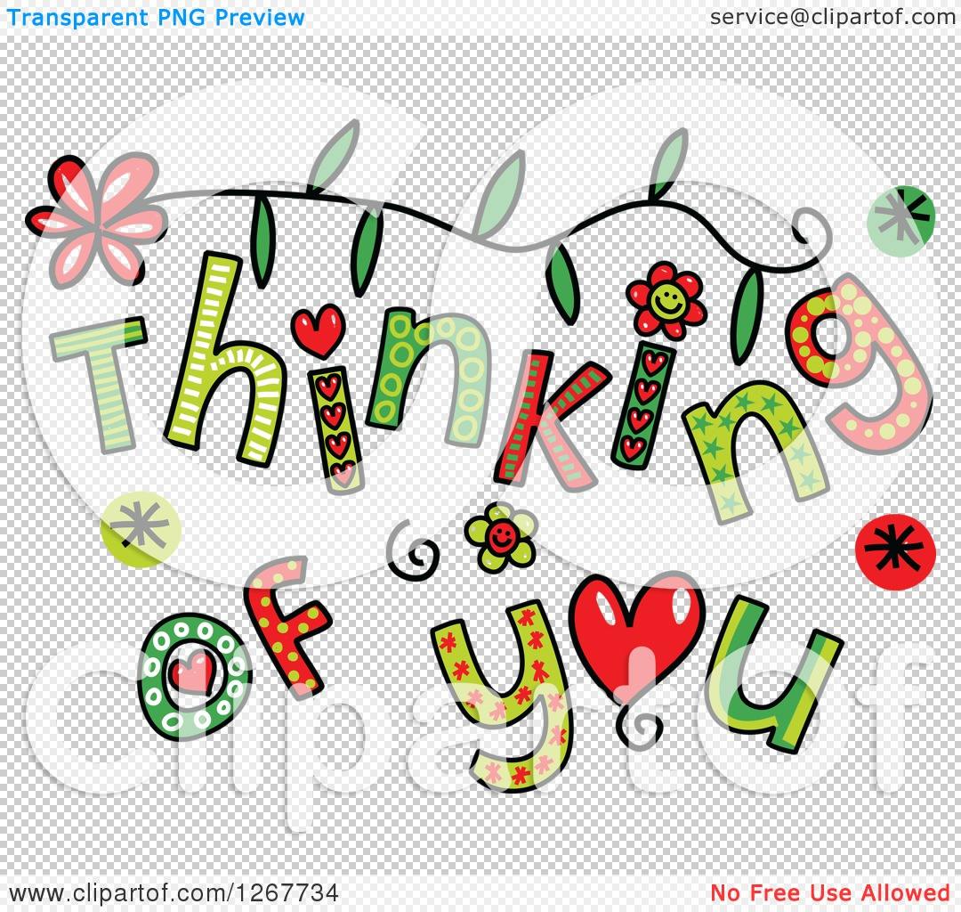 Clipart of Colorful Sketched Thinking of You Text.