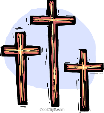 three Crosses Royalty Free Vector Clip Art illustration.