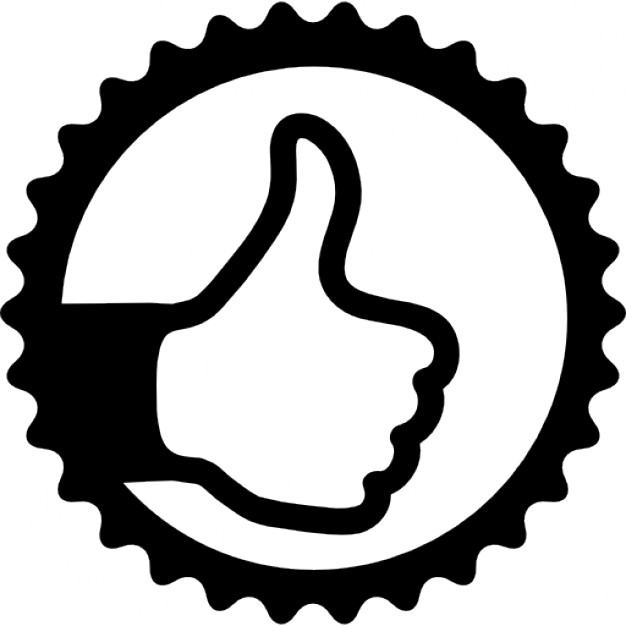 Thumb up sign in circular badge Icons.