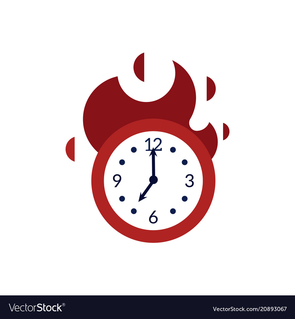 Clock with red fire showing time running out.