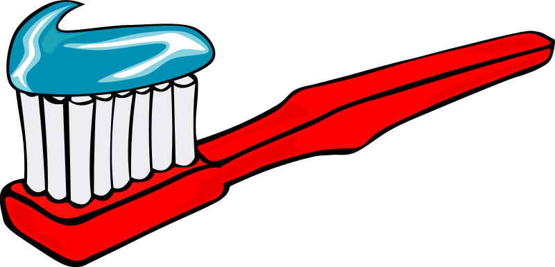Free Clipart: Toothbrush and toothpaste.