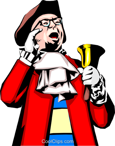 Town crier Royalty Free Vector Clip Art illustration.