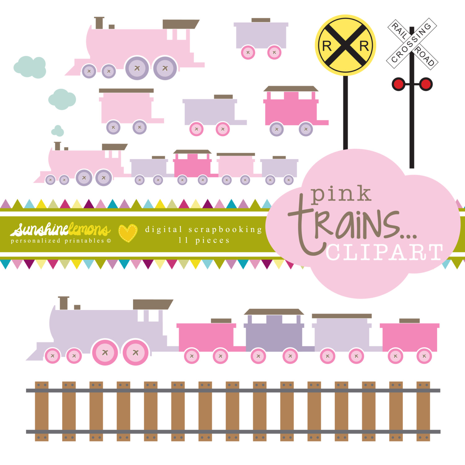 Pink Train Tracks Clipart.