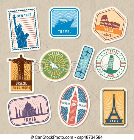 Travel stickers set with different worldwide architectural symbols. Vector  labels with grunge texture.