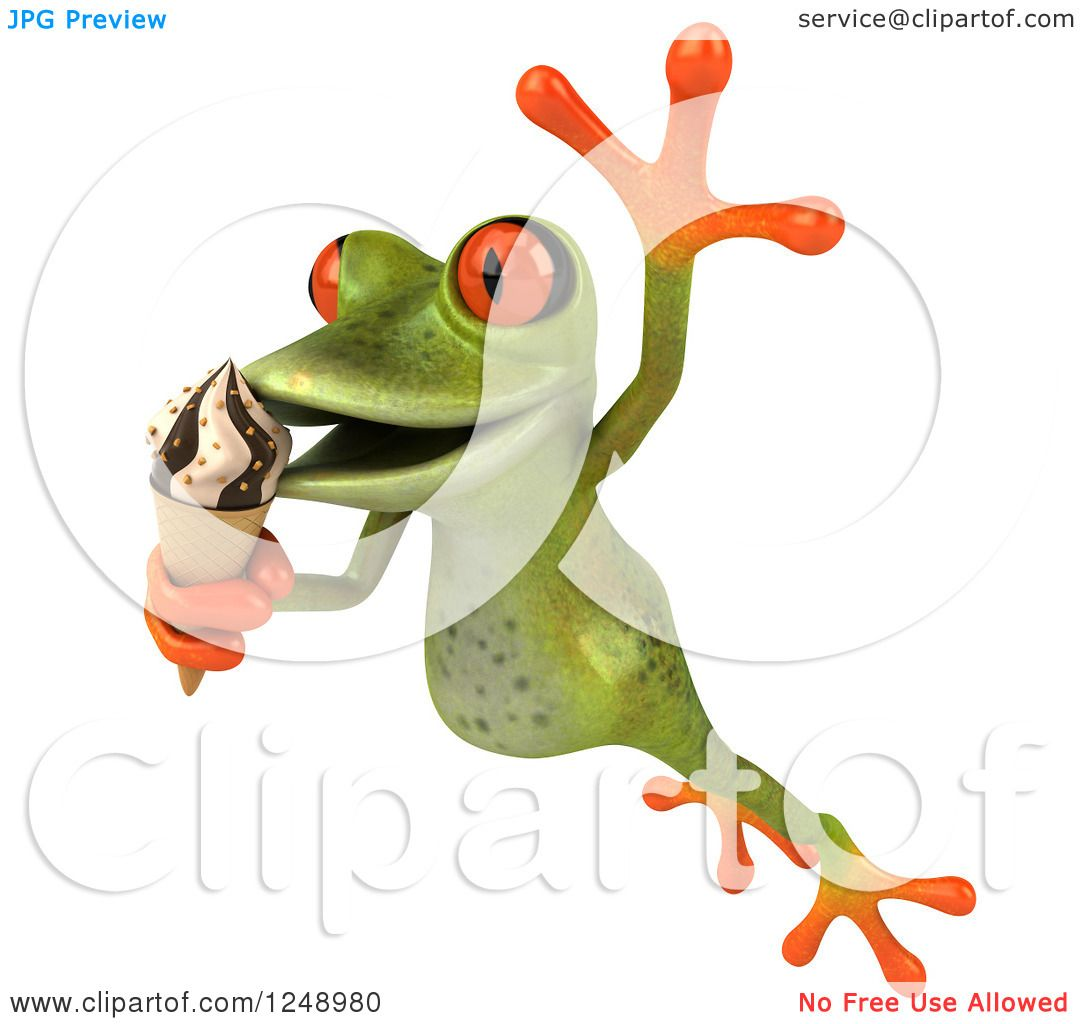 Clipart of a 3d Green Springer Frog Leaping and Eating Ice Cream.