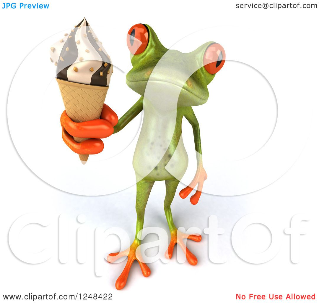 Clipart of a 3d Green Springer Frog Holding up Ice Cream.
