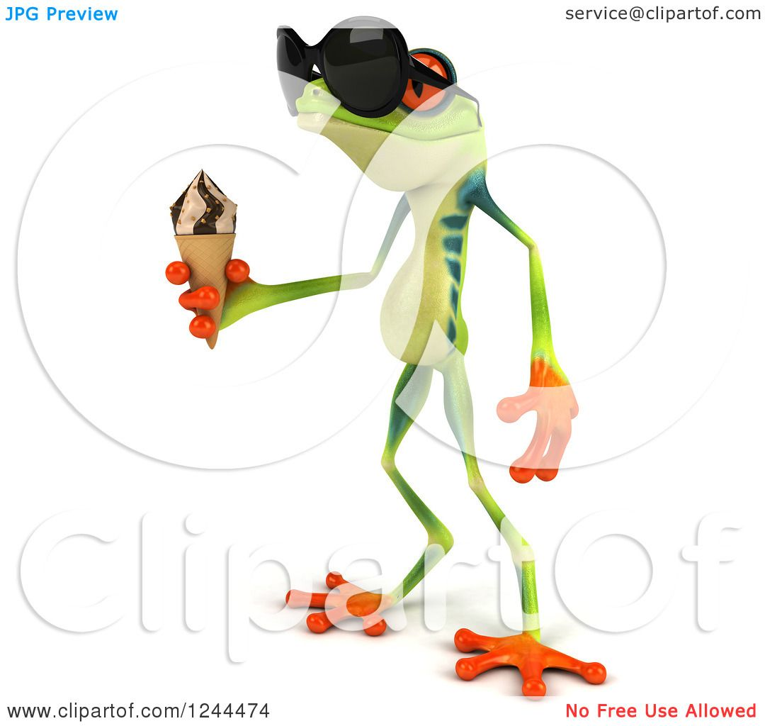 Clipart of a 3d Argie Tree Frog Wearing Sunglasses and Holding an.