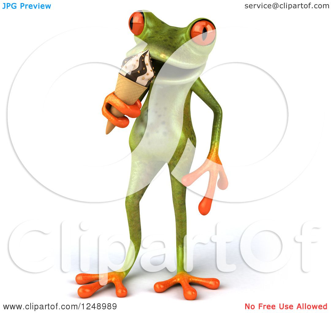 Clipart of a 3d Green Springer Frog Eating Ice Cream.