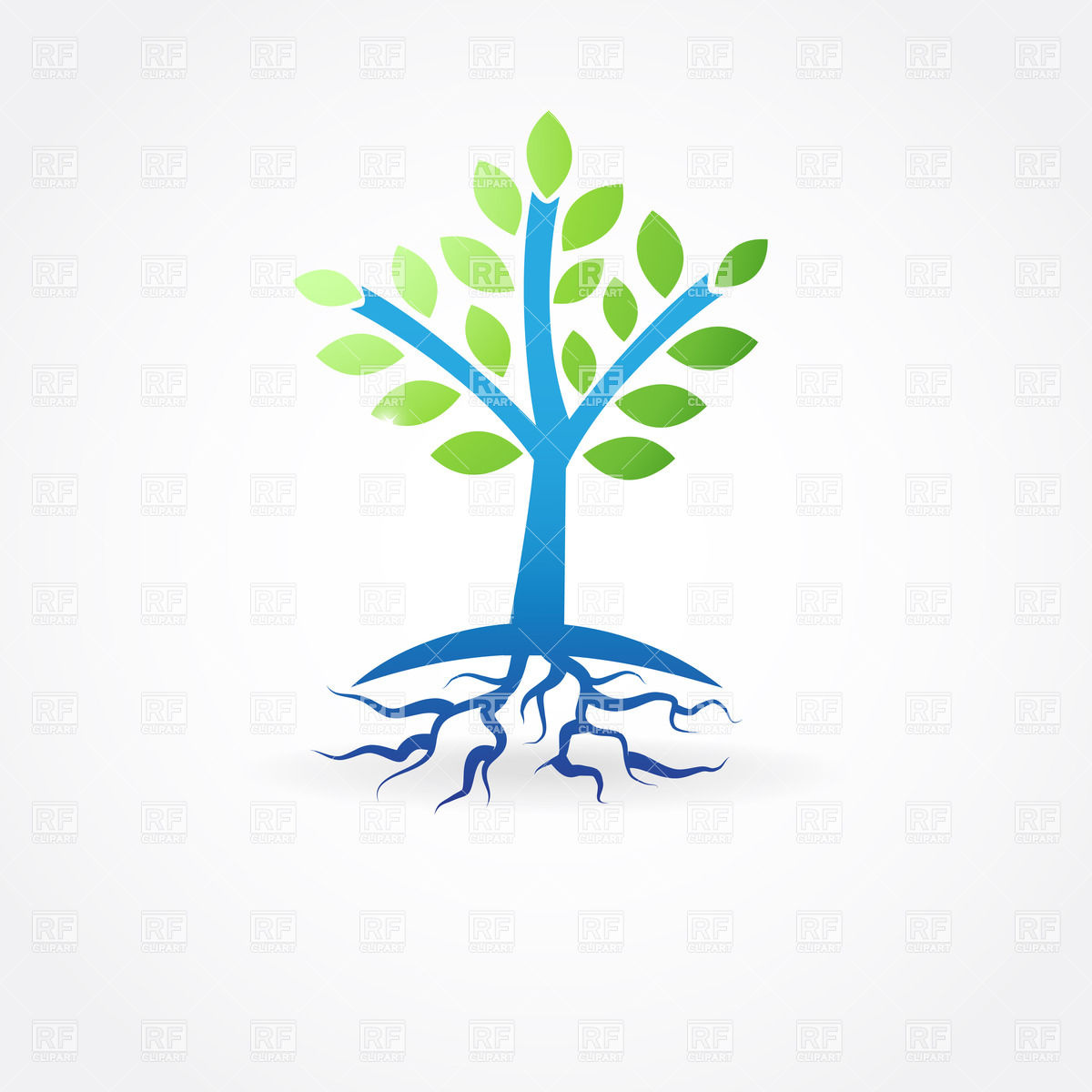 Simple spring tree with roots Vector Image #22061.