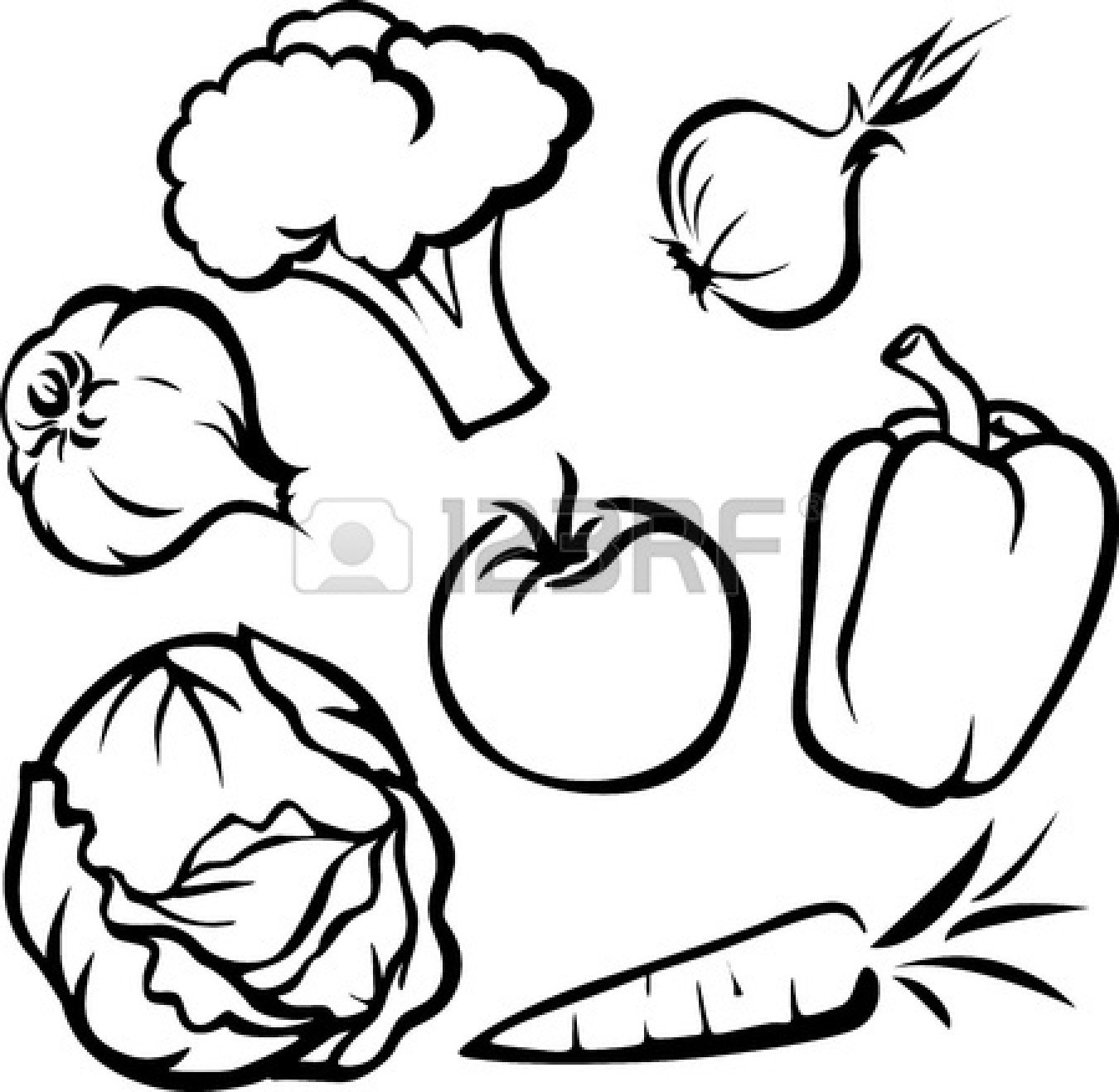 Fruits And Vegetables Drawing Black And White at PaintingValley.com.