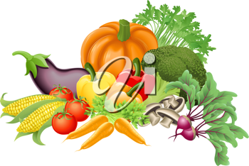 Royalty Free Clipart Image of an Assortment of Vegetables.