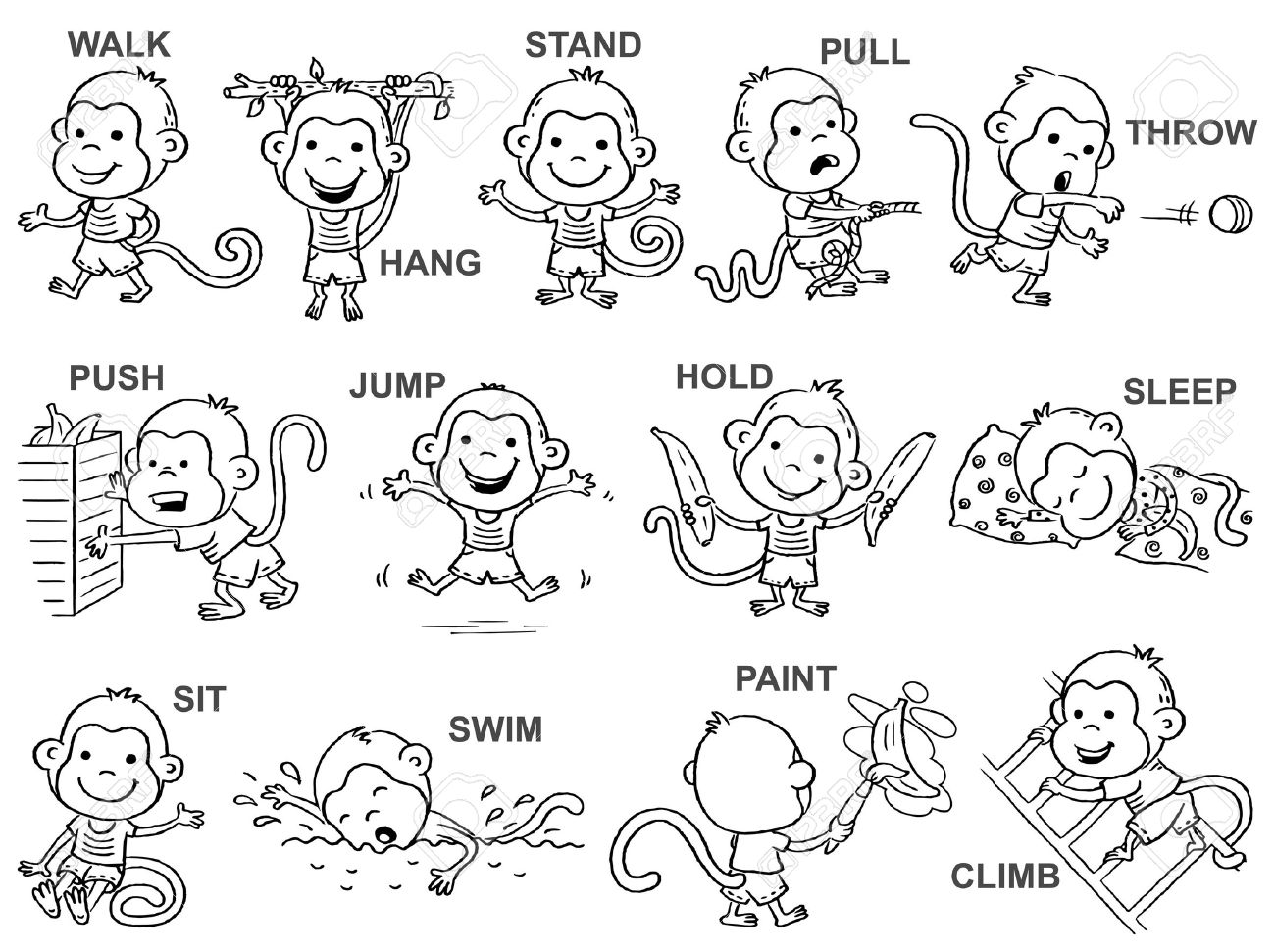 Verbs of action in pictures, cute happy monkey character, black...
