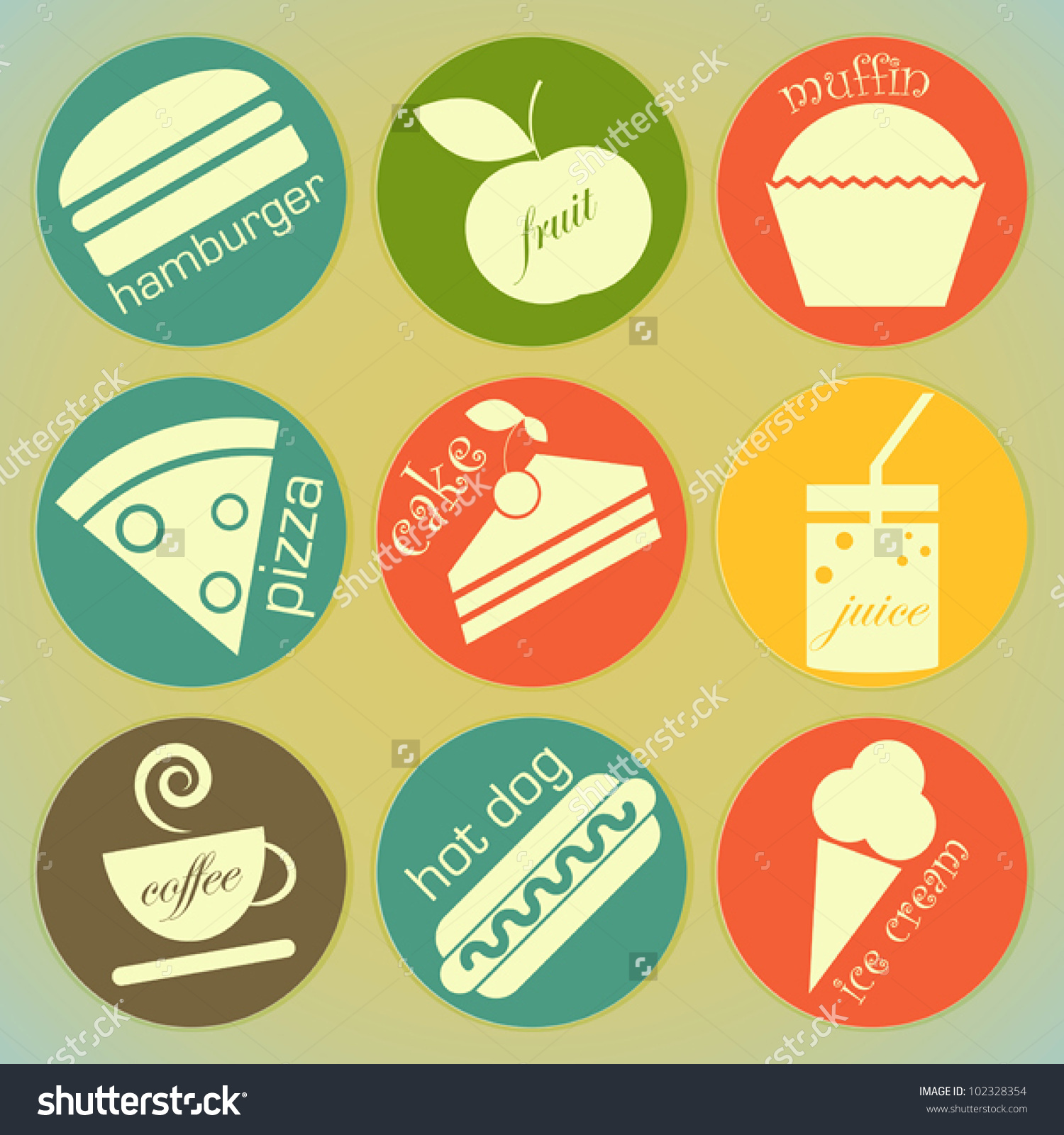 Set Vintage Food Round Labels Retro Stock Vector 102328354.