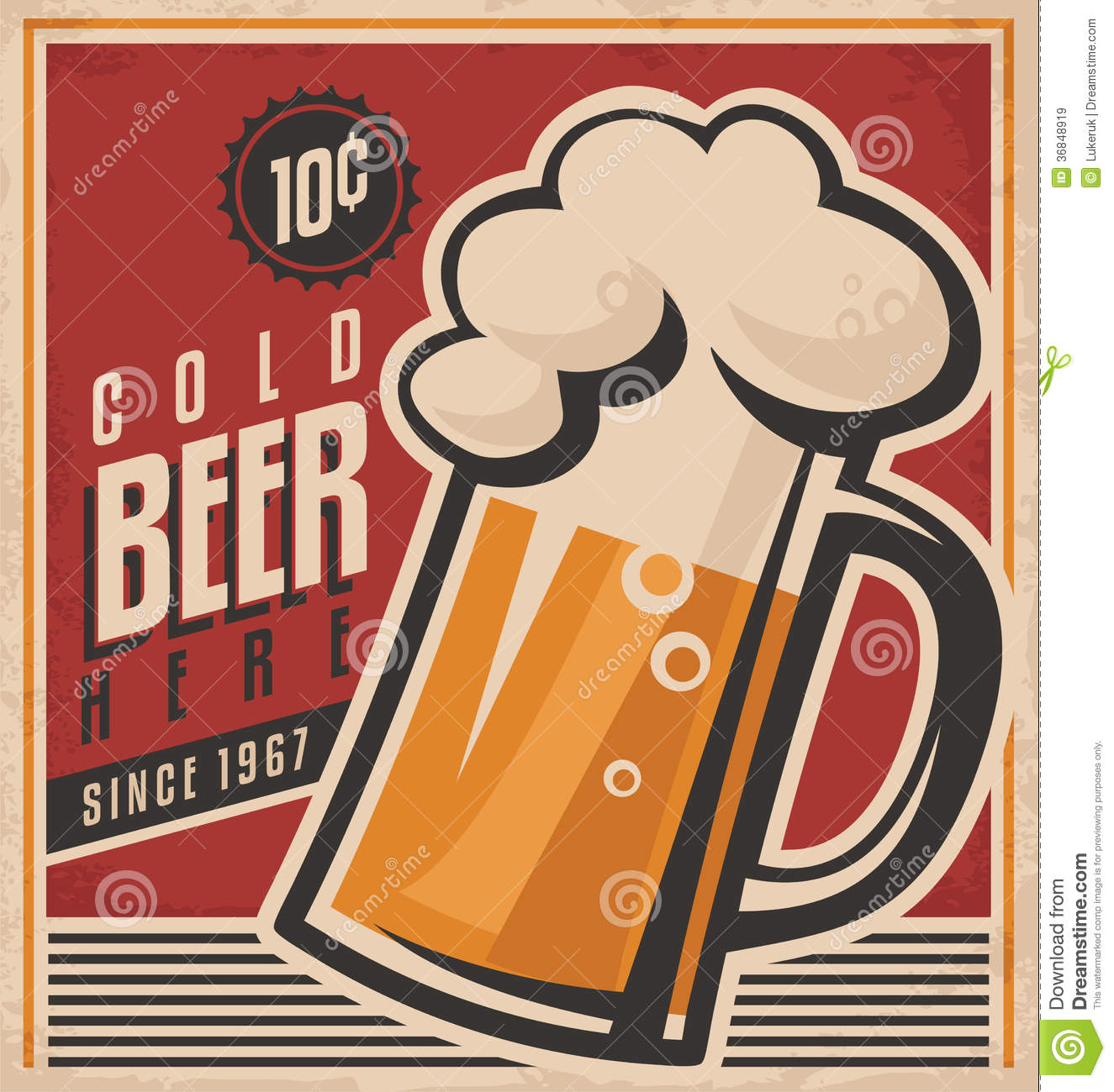 Retro Beer Vector Poster Royalty Free Stock Images.