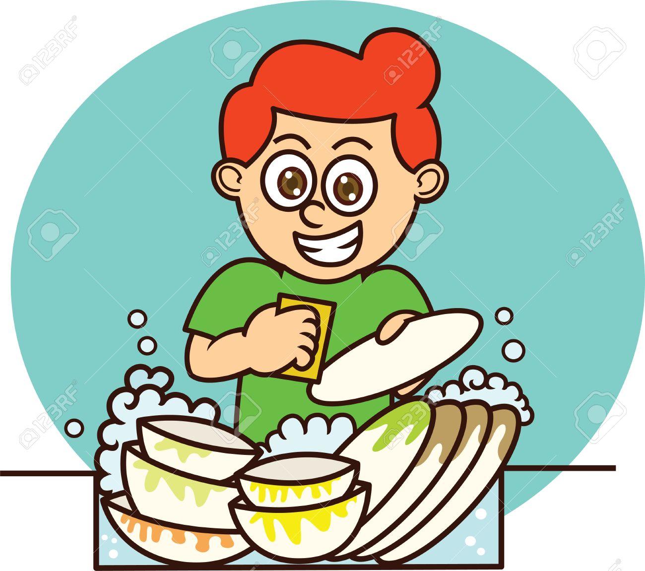 Young Man Washing Dishes Cartoon Illustration on Isolated Background.
