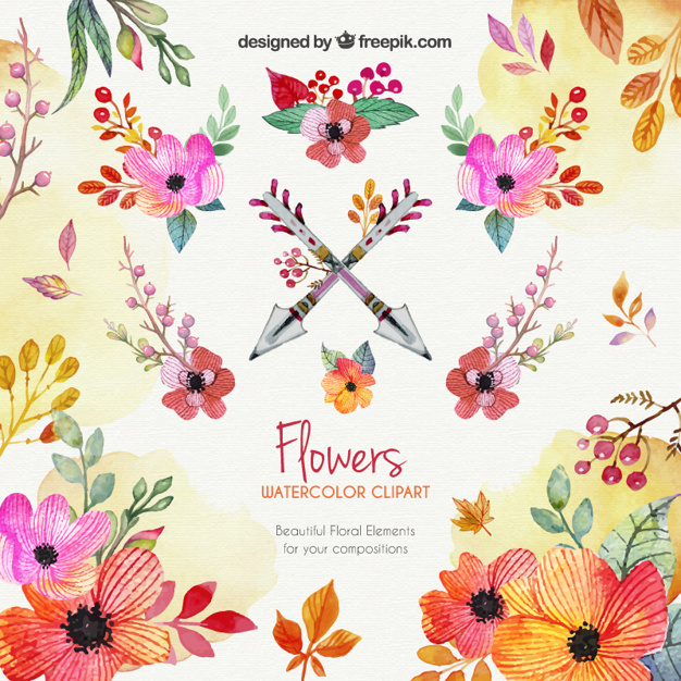 Watercolor flowers clipart Vector.