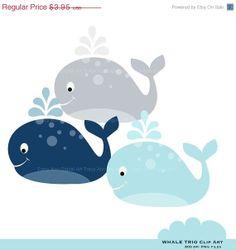 Forward Facing Whale Digital Clipart.