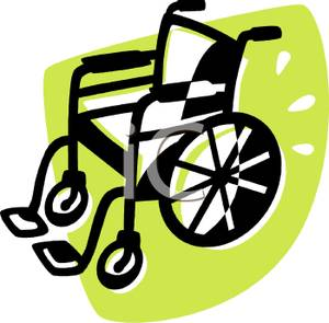 A Wheelchair on a Green Background.