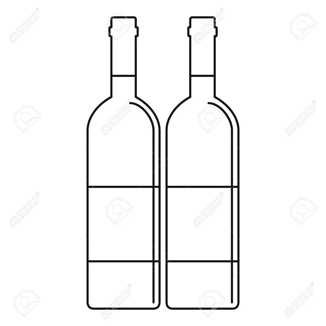 Wine bottles with blank labels icon. Outline illustration of...