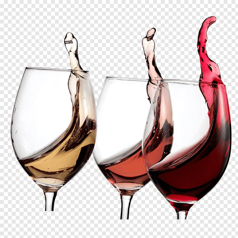 Three wine glasses with winmes, Dessert wine Wine tasting.