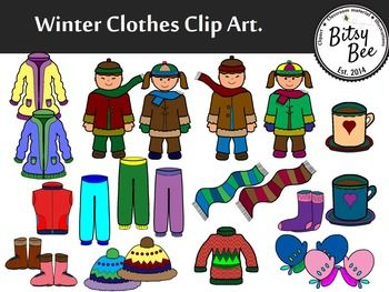 Freebie winter clothes clip art.