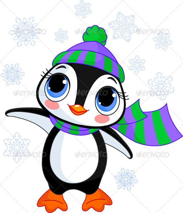 Winter penguin with hat and scarf.