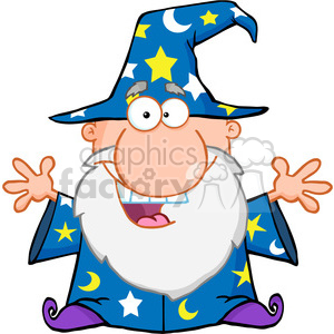 Royalty Free Friendly Wizard With Open Arms clipart. Royalty.