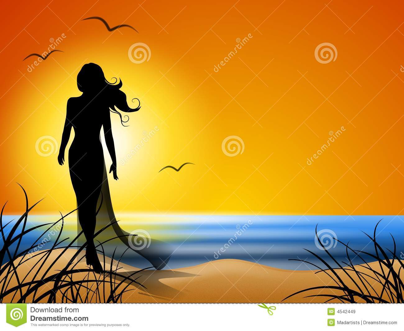 Woman Walking Alone On Beach Royalty Free Stock Images.