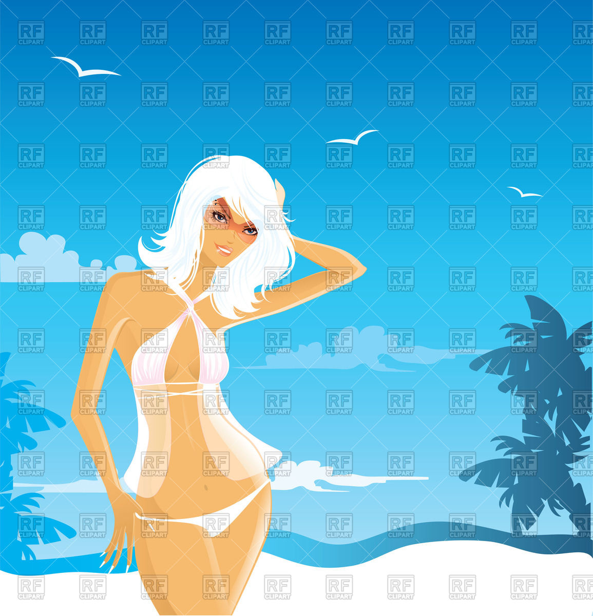 Sexy woman in swimsuit on the beach Vector Image #58179.
