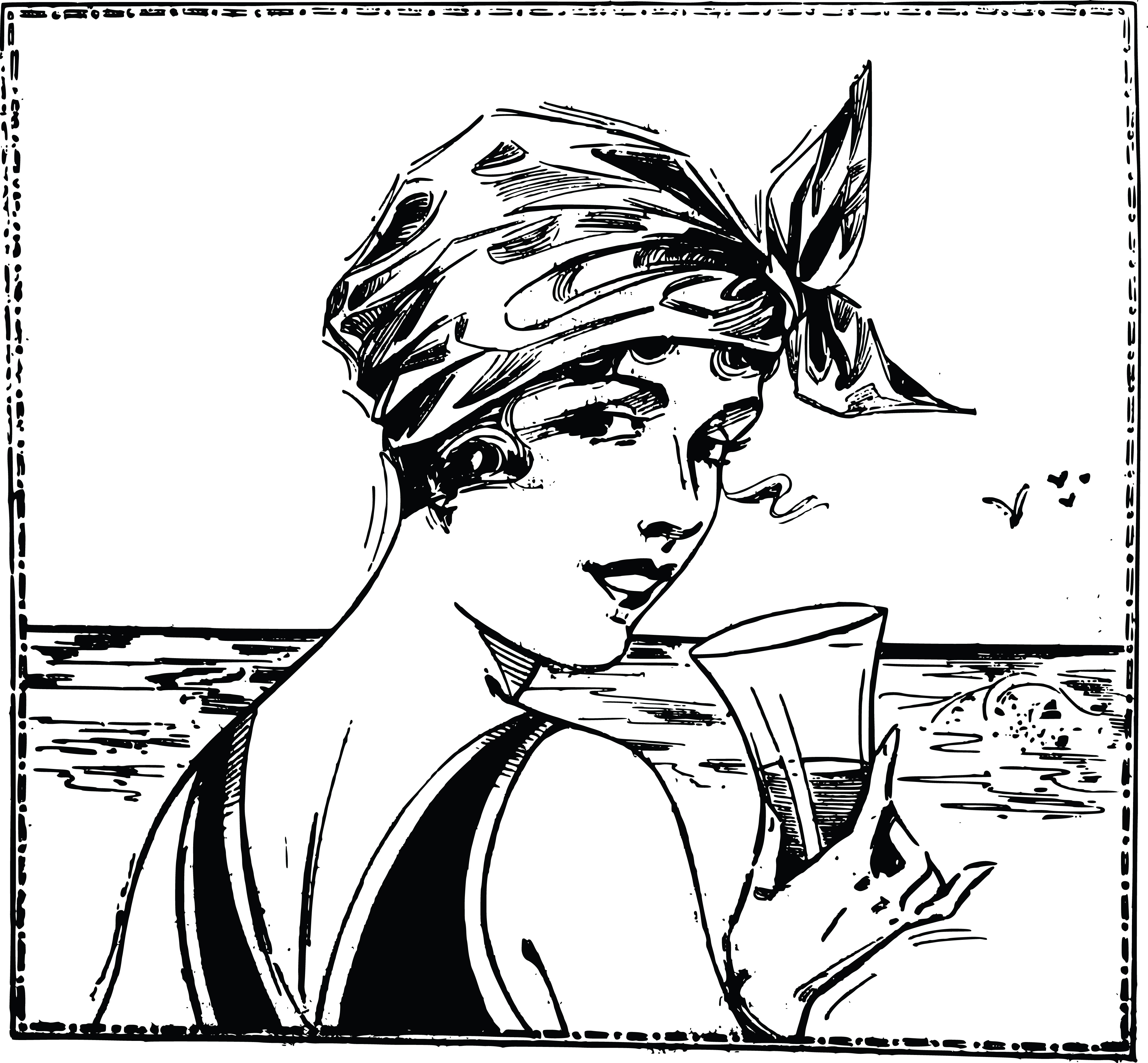 Clipart of a vintage woman at a beach, holding a beverage and.