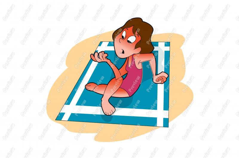 Beach Woman With Sunburn Character Clip Art.