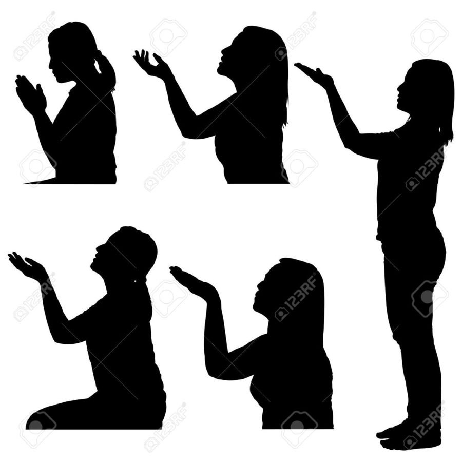 Download woman praying hands silhouette clipart Praying Hands Clip.