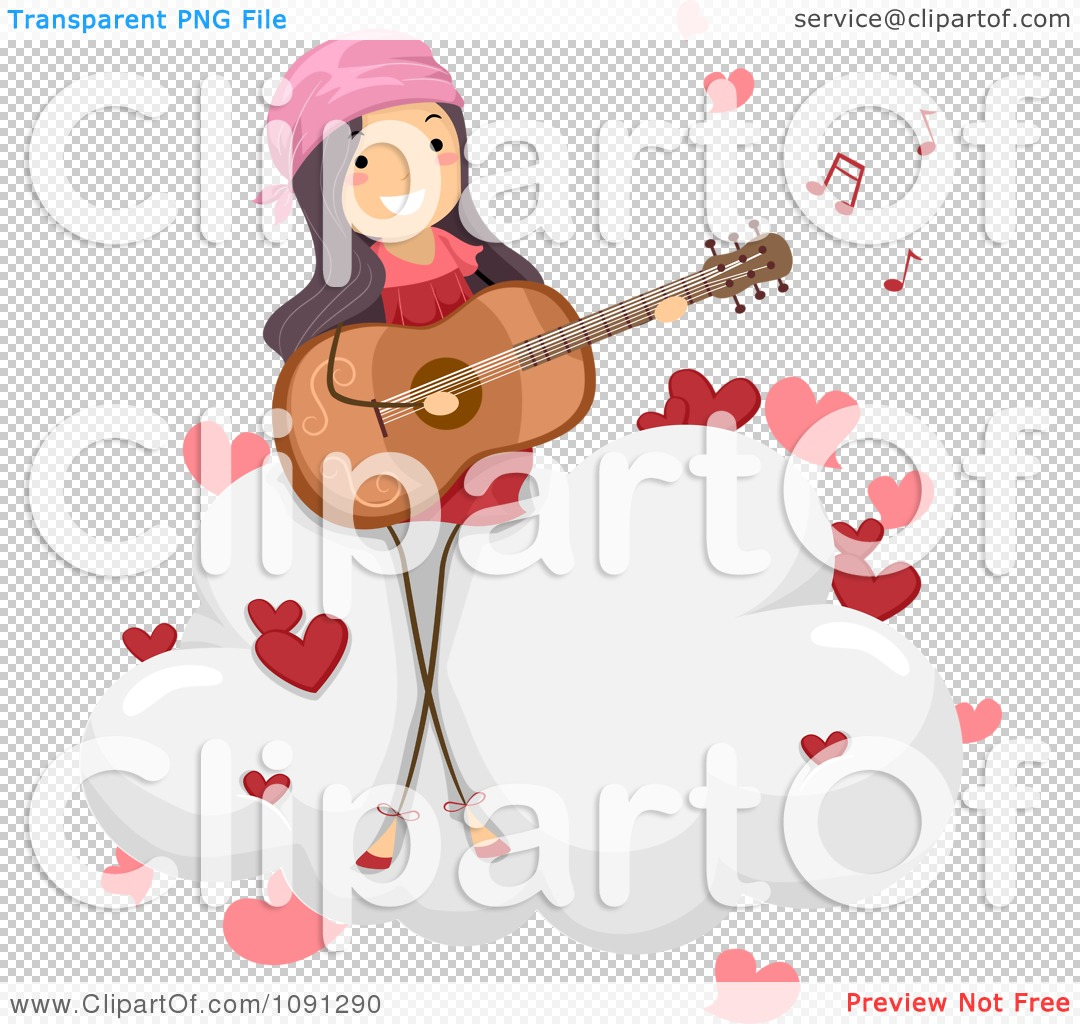 Clipart Girl Singing A Love Song And Playing A Guitar On A Cloud.