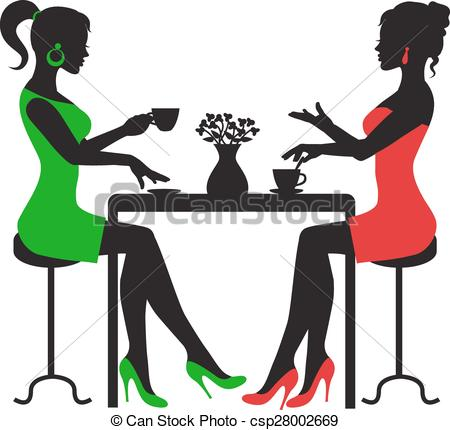 Clip Art Vector of Two women drinking coffee.