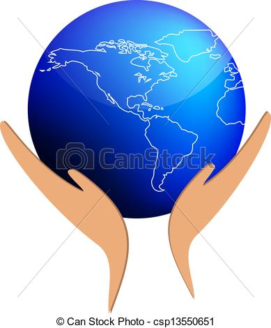 Clipart Vector of Hands sustain the world csp13550651.
