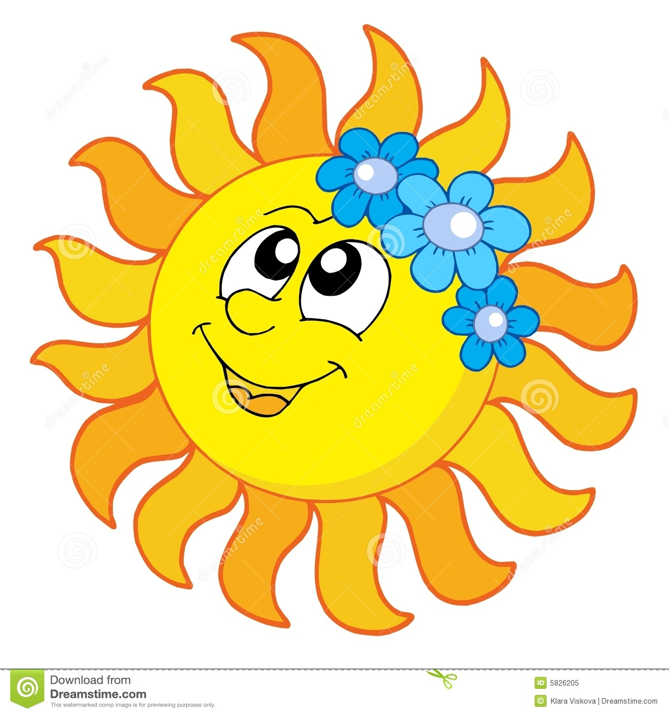 Smiling Sun With Flowers Royalty Free Stock Photo.