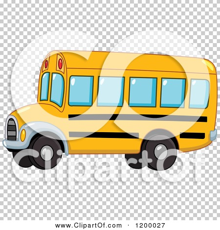 Cartoon of a Cute Yellow School Bus.