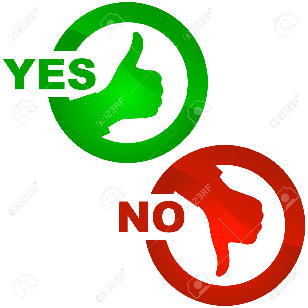 Yes And No Icon. Vector Beautiful Icon Set. Royalty Free Cliparts.