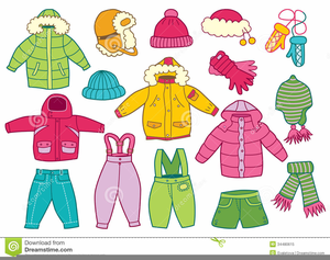Children Winter Clothes Clipart.