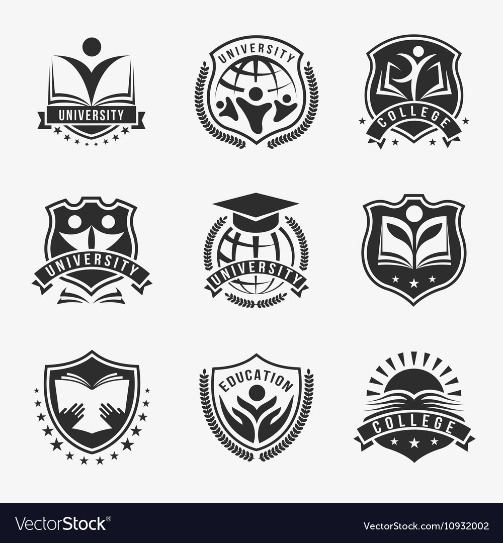 University And College Logos Emblem Set.