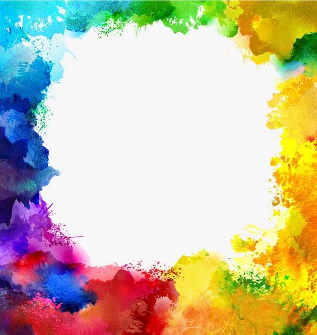 Colorful ink border color border PNG clipart.
