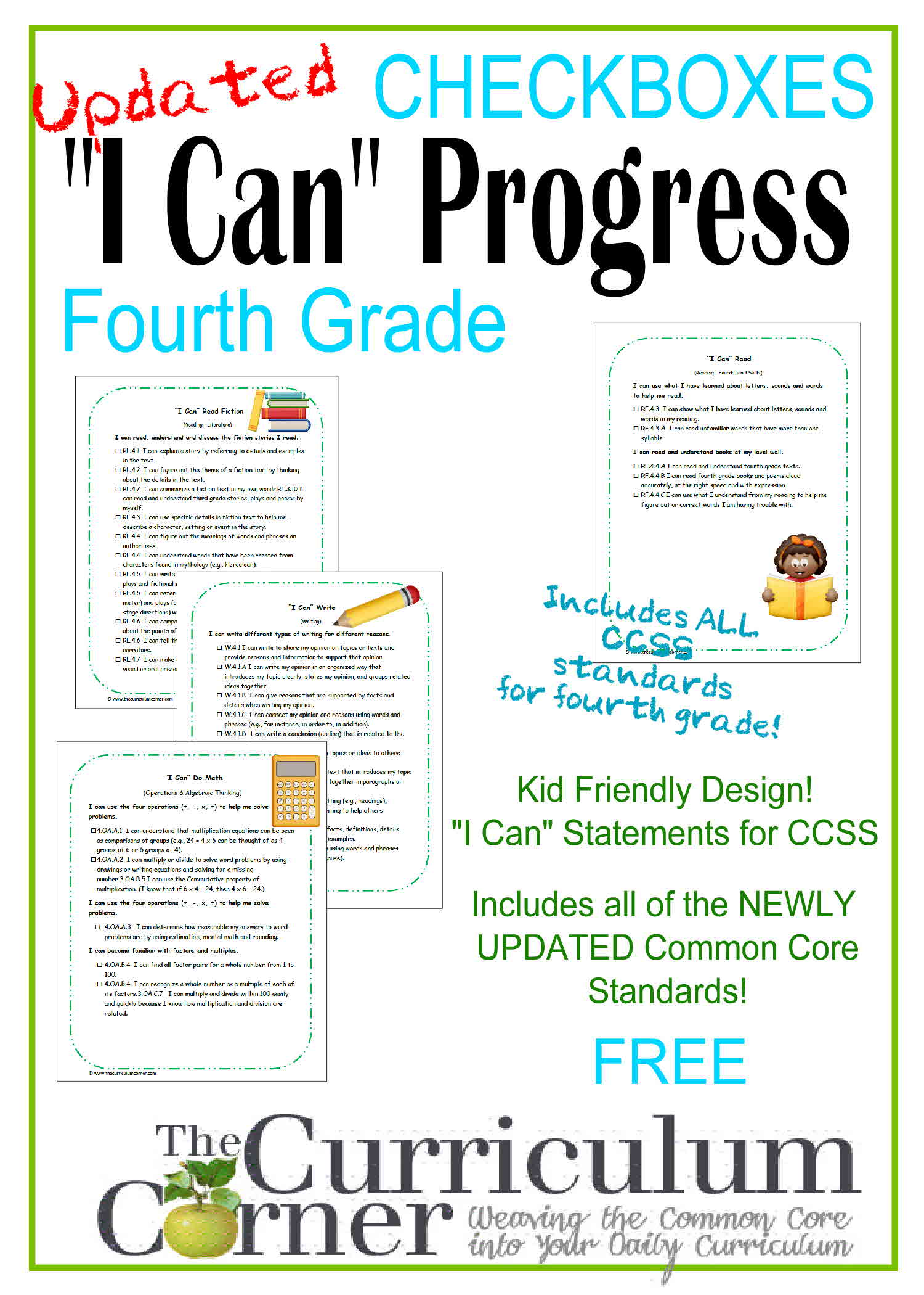 Kid Clip Art I Can Statements 4th Grade CCSS Checkboxes.