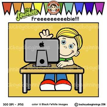 Clip Art Computer kid.