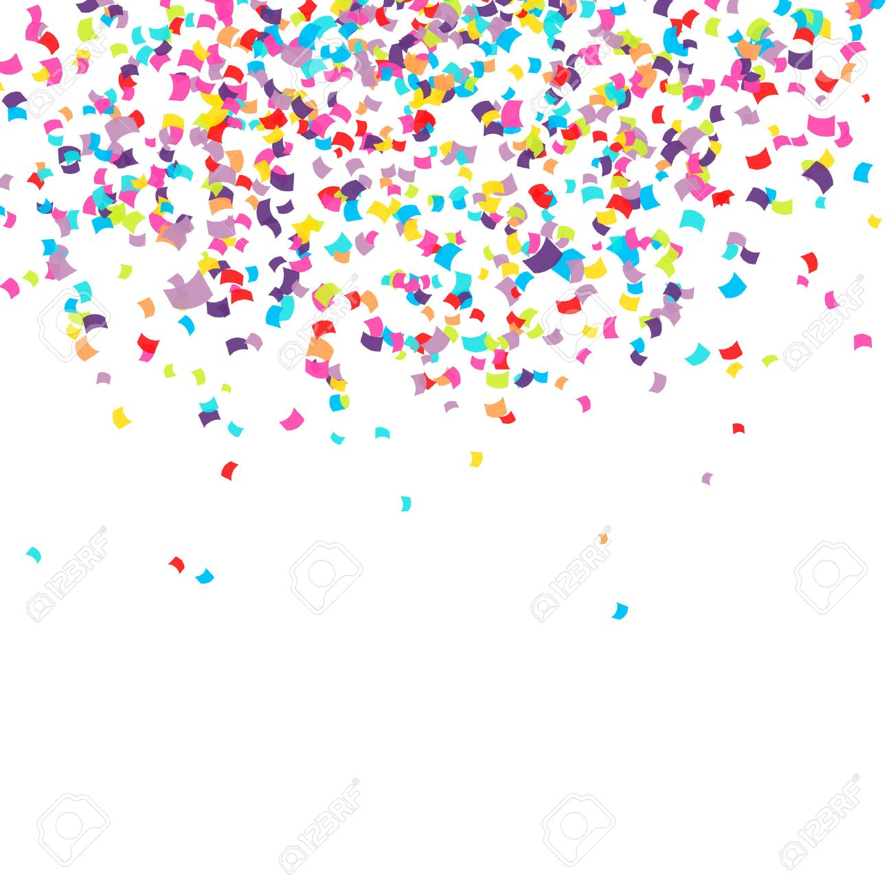 Abstract background with falling confetti.