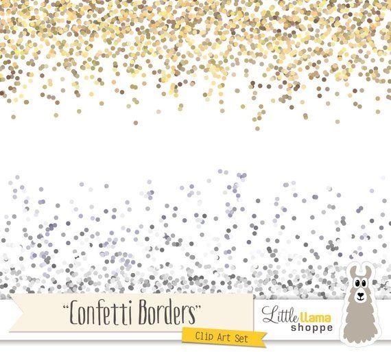 Confetti Border Clip Art, Gold Glitter Border Clipart.